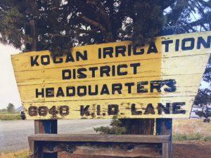 "An image of the Klamath Irrigation District's sign with ""Kogan"" added in place of ""Klamath""."