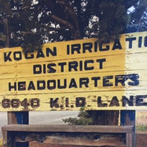 The Klamath Irrigation District Headquarters sign was changed to show the KID Board of Directors majority faction was being ruled by attorney Larry Kogan of New York City.