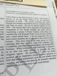 Klamath Irrigation District Grant Knoll's Statement of Justification to the recall complaints filed against him by Jason Chapman.